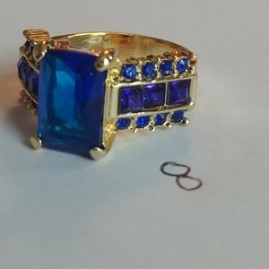 Gold blue ring